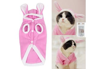 (Large) - Bro'Bear Plush Rabbit Outfit with Hood & Bunny Ears for Small Dogs & Cats Pink