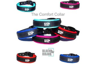 (Medium, Aqua/Grey) - Black Rhino - The Comfort Collar Ultra Soft Neoprene PADDED DOG COLLAR for All Breeds - Heavy Duty Adjustable Reflective Weatherproof
