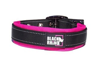 (Medium, Pink/Black) - Black Rhino - The Comfort Collar Ultra Soft Neoprene PADDED DOG COLLAR for All Breeds - Heavy Duty Adjustable Reflective Weatherproof
