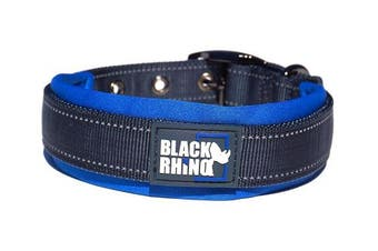(Medium, Blue/Grey) - Black Rhino - The Comfort Collar Ultra Soft Neoprene PADDED DOG COLLAR for All Breeds - Heavy Duty Adjustable Reflective Weatherproof
