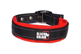 (Medium, Red/Black) - Black Rhino - The Comfort Collar Ultra Soft Neoprene PADDED DOG COLLAR for All Breeds - Heavy Duty Adjustable Reflective Weatherproof