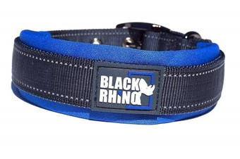 (Large, Blue/Grey) - Black Rhino - The Comfort Collar Ultra Soft Neoprene PADDED DOG COLLAR for All Breeds - Heavy Duty Adjustable Reflective Weatherproof