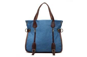 (Blue) - Nlyefa Retro Canvas Handbag Shoulder Bag, Women's Multifunctional Bag for Daily Life, Work and School
