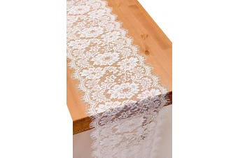 (1, 36cm  x 300cm ) - Crisky 30cm x 300cm White Lace Table Runner Boho Wedding Reception Table Decoration Baby & Bridal Shower Party Decor
