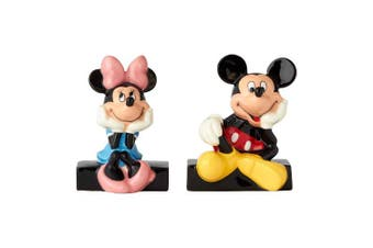 "Enesco Disney Mickey and Minnie Mouse Ceramic Salt & Pepper Shakers, 3.5"" , Multicolor"
