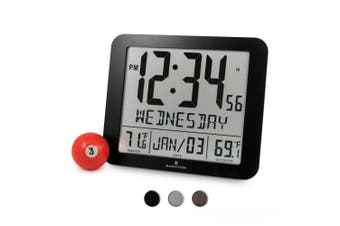 (New Full Display, Color: Black) - NEW ITEM, SPECIAL INTRODUCTORY PRICE - MARATHON CL030027-FD-BK Slim Atomic Wall Clock with Full Calendar and Large Display and Indoor/Outdoor Temperature (New Full Display, Colour: Black)