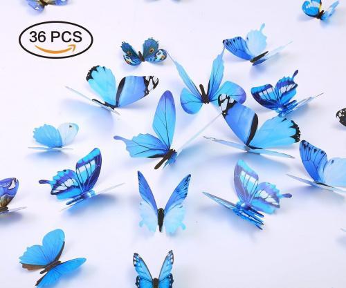 (Blue) - Kakuu 36PCS Butterfly Wall Decals - 3D Butterflies wall stickers Removable Mural decor Wall Stickers Decals Wall Decor Home Decor Kids Room Bedroom Decor Living Room Decor-Blue Colour: Blue