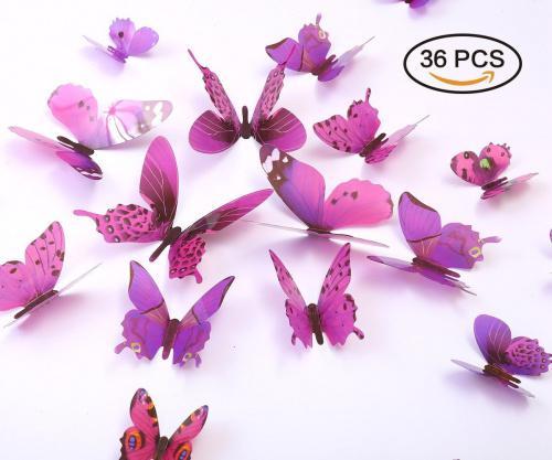 (Purple) - Kakuu 36PCS Butterfly Wall Decals - 3D Butterflies wall stickers Removable Mural decor Wall Stickers Decals Wall Decor Home Decor Kids Room Bedroom Decor Living Room Decor-Purple Colour: Purple