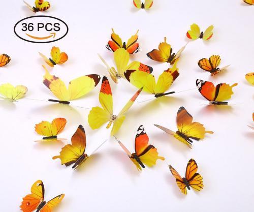 (Yellow) - Kakuu 36PCS Butterfly Wall Decals - 3D Butterflies wall stickers Removable Mural decor Wall Stickers Decals Wall Decor Home Decor Kids Room Bedroom Decor Living Room Decor -Yellow Colour: Yellow