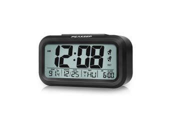 [Upgraded] PEAKEEP Battery Digital Dual Alarm Clock with DST, Low and High Nightlight (Black)