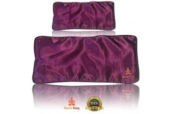 (eye pillow cover (purple)) - Blissful Being Satin Eye Pillow Cover | Washable, Removable Case for Eye Pillow (Purple cover only)