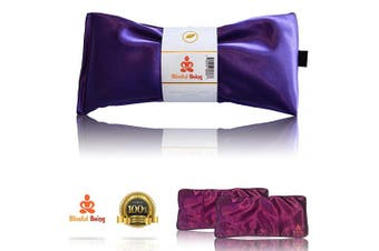 (Amethyst with cover) - Blissful Being Lavender Eye Pillow with Purple Satin Cover- Hot or Cold Weighted Aromatherapy Eye Mask perfect for Naps, Yoga, Migraines - Natural Stress Relief (Amethyst with purple cover bundle)