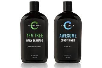 (Shampoo & Conditioner) - Tea Tree Shampoo & Awesome Conditioner Combo - Challenger - Two 470ml Sulphate Free w/Vitamins, Argan Oil, Biotin - For Men & Women - Keratin, Vitamin C, Vitamin D, Protein, No Artificial Colours & Glut