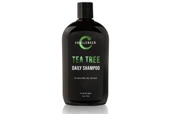 (1 Bottle - 470ml) - Challenger Tea Tree Shampoo - 470ml Sulphate Free w/Vitamins, Argan Oil, Biotin - For Men & Women - Keratin, Vitamin C, Vitamin D, Protein, No Artificial Colours (2-3 Month Supply)