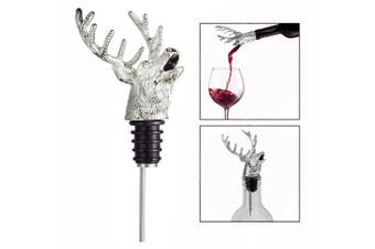OFKPO Zinc Alloy Wine Pourer and Bottle Stopper Deer Stag Head Shape with Leak-proof Bung(Silver)