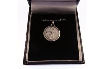 "Silver plated Guardian Angel gift boxed round 1.8cm medal and 18"" necklace Catholic"