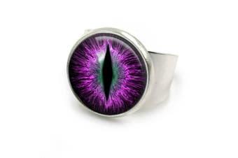 (Silver) - Dragon Eye Ring| adjustable ring| dragon| eye| fantasy| dragon eyes| dragon jewellery| dragon eye| Gift for Her | 5