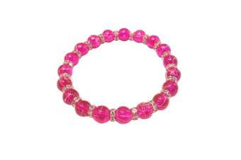 (Magenta) - Drawbench Transparent Glass Beads with Diamante Rhinestone Spacers Stretch Bracelet - Choice of Colour - Approx 19cm