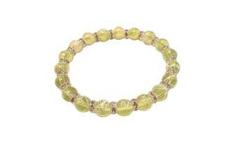 (Light Green) - Drawbench Transparent Glass Beads with Diamante Rhinestone Spacers Stretch Bracelet - Choice of Colour - Approx 19cm
