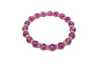 (Indigo) - Drawbench Transparent Glass Beads with Diamante Rhinestone Spacers Stretch Bracelet - Choice of Colour - Approx 19cm