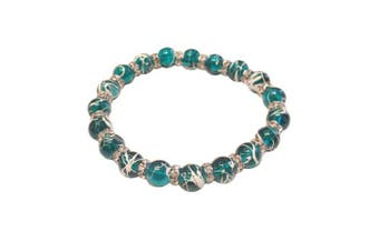 (Teal) - Drawbench Transparent Glass Beads with Diamante Rhinestone Spacers Stretch Bracelet - Choice of Colour - Approx 19cm