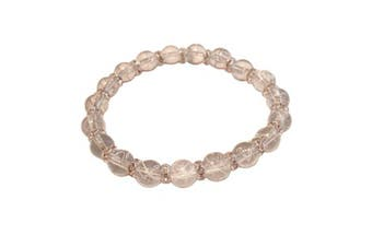 (Light Grey) - Drawbench Transparent Glass Beads with Diamante Rhinestone Spacers Stretch Bracelet - Choice of Colour - Approx 19cm