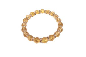 (Goldenrod) - Drawbench Transparent Glass Beads with Diamante Rhinestone Spacers Stretch Bracelet - Choice of Colour - Approx 19cm
