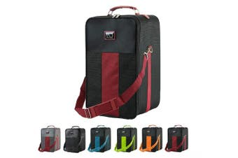 (Small, Maroon) - Small Wig Travel Box with Top Handle, Shoulder Strap & Double Zipper, Carrying Case with Removable Head-Holding Base - Black & Maroon - by Adolfo Design