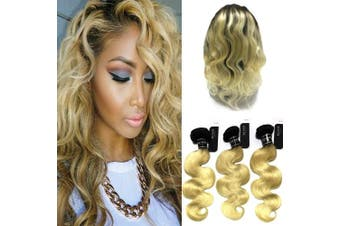(20 22 24+46cm ) - BQ HAIR 8A 1B-613 Honey Blonde Body Wave 3 Bundles with 360 Lace Frontal 100% Real Virgin Human Hair Extensions Wave (20 22 24+46cm )