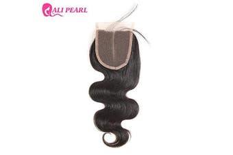 (18) - Ali Pearl 8A Brazilian Human Hair Body Wave 4x4 Lace Closure Free Part Human Hair Extension Natural Black (18)