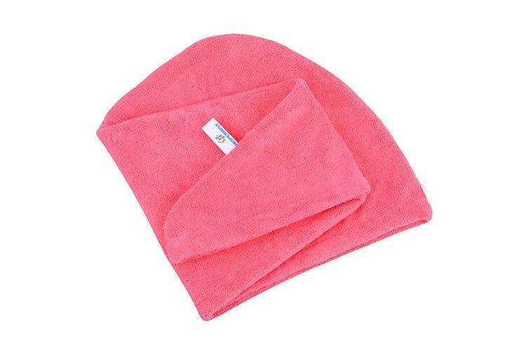 (Rose Red) - HOPESHINE Hair Drying Towel Twist Microfiber Towels for Hair Turban Wrap Fast Drying Super Soft and Absorbent Great Gift for Women and Girls (Rose Red)