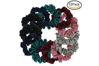 (Multicolored-Small) - Satin Scrunchies, BETITETO Set of 12 Soft Ponytail Holder Bobbles Hair Scrunchy Vintage Hair Bands Ties for Women Girls (Multicoloured-Small)