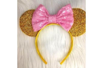 CLGIFT Yellow Minnie Mouse Ears Baby Pink Sequin Bow - Gold Mickey Mouse Ears Disney Ears Minnie Mouse Bow Minnie Mouse
