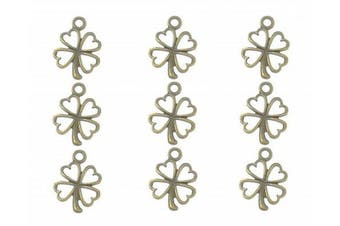 (Antique Bronze) - 100pcs Four Leaf Clover Lucky Charms Pendents for DIY Crafting Bracelet Necklace Jewellery Making Accessories(Antique Bronze)