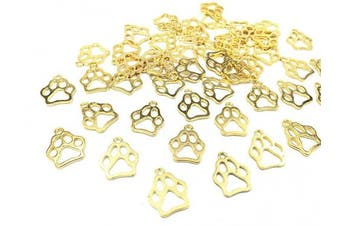 (Dog Paw (Gold)) - 50pcs Dog Paw Print Pet Charm Alloy Doggy Puppy Cat Animal Footprint Pendant for DIY Necklace Bracelet Jewellery Making Findings(Antique Gold Tone)