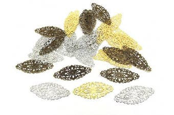 (Style 2# (Multicolor)) - Filigree Wrap Charm Pendant Connector,Metal Laminate Decoration Supplies for DIY Hairpin Headwear Earring Costume Jewellery Making Findings(30pcs with Silver,Bronze and Gold Colours)