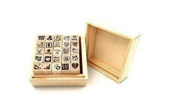 (Love(25pcs)) - Diary Stamp Set,Wooden Rubber Signet for Children DIY Scrapbooking Planner Card Making(25pcs,Love Heart)