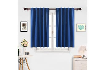 (110cm  x 140cm , Royal Blue) - Deconovo Thermal Insulated Drapes and Curtains Back Tab and Rod Pocket Blackout Curtains for Kitchen Window 110cm x 140cm Royal Blue 2 Panels