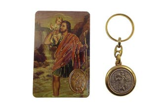 St. Christopher brass and silver keyring with The Motorist's prayer card