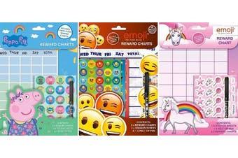 (Emoji) - Childrens Wipe Clean Reward Charts With Stickers & Pen 3 Designs Weekly Planner (Emoji)
