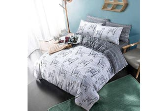 (Llama Grey, King Complete Set) - Complete set with duvet cover fitted sheet pillowcases animal print poly cotton bedding (Llama Grey, King Complete Set)
