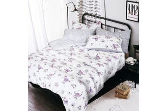 (Dinosaurs Multi, King Complete Set) - Complete set with duvet cover fitted sheet pillowcases animal print poly cotton bedding (Dinosaurs Multi, King Complete Set)