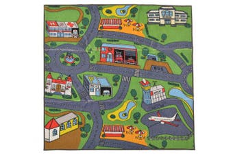 (0.9m x 0.9m, Multi-color) - Kids Playmat Nursery Area Rug 0.9m x 0.9m Square Carpet Educational Roads and Buildings Great For Playing With Cars & Toys and Lots of Fun