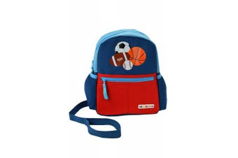 (sports) - Alphabetz Sports Toddler Backpack with Safety Harness Leash, Blue, Red, Universal Size