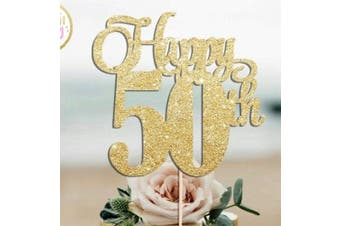 HAPPY 50TH Gold Glitter Cake Topper 50 Birthday Party Fifty Fiftieth Toppers Cupcake