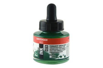 Royal Talens Amsterdam Acrylic Ink, 30ml Bottle with Dropper, Permanent Green Deep (17206190)
