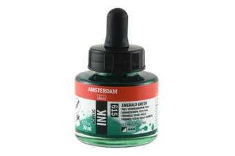 Royal Talens Amsterdam Acrylic Ink, 30ml Bottle with Dropper, Emerald Green (17206150)