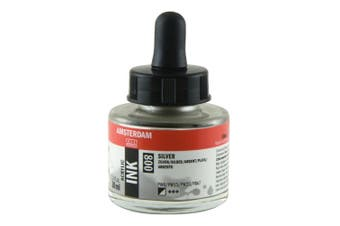 Royal Talens Amsterdam Acrylic Ink, 30ml Bottle with Dropper, Silver (17208000)