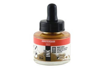 Royal Talens Amsterdam Acrylic Ink, 30ml Bottle with Dropper, Deep Gold (17208030)