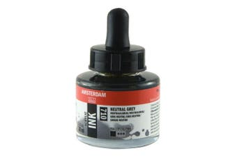 Royal Talens Amsterdam Acrylic Ink, 30ml Bottle with Dropper, Neutral Grey (17207100)